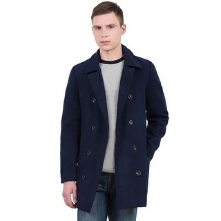 Men's Turn Down Collar Long Sleeves Double-Breasted Casual Worsted Coat - Navy blue