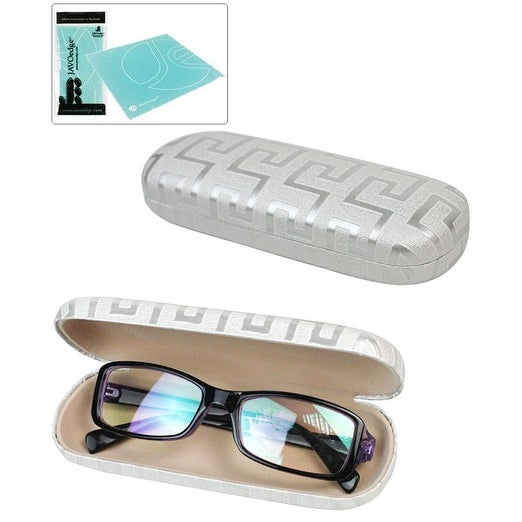 JAVOedge Maze Grid Print Soft Lined Eyeglass Case with Soft Lined Interior and Bonus Mircofiber Cleaning Cloth - Silver