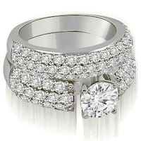 2.80 cttw. 14K White Gold Three Row Round Cut Diamond Bridal Set