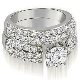 3.05 cttw. 14K White Gold Three Row Round Cut Diamond Bridal Set