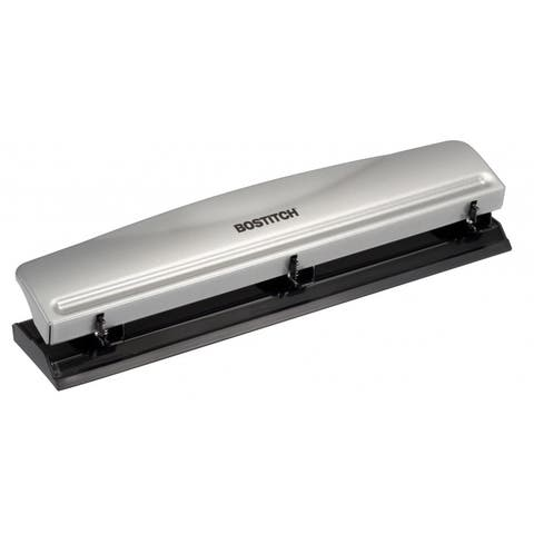 Bostitch 3 Hole Punch, 12 Sheets, Silver