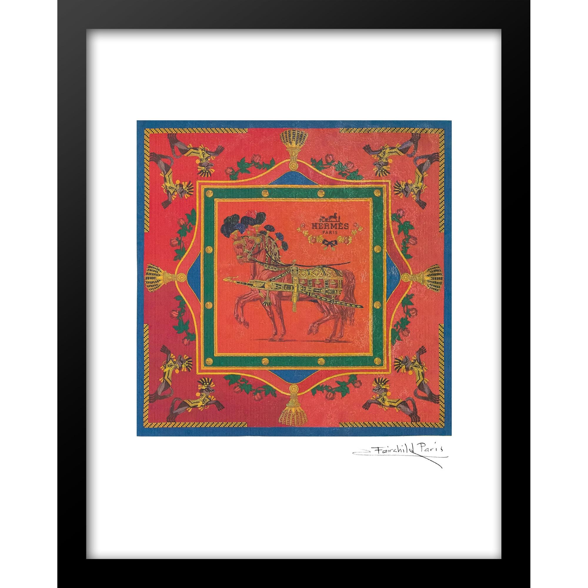 Fairchild Paris Hermes Horse Scarf Design Framed Wall Art 14 X 18 Overstock 32629969