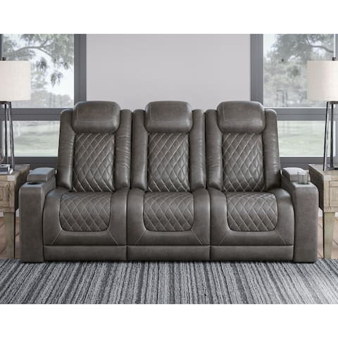 Hyllmont Gray Power Recliner Sofa with Adjustable Headrest