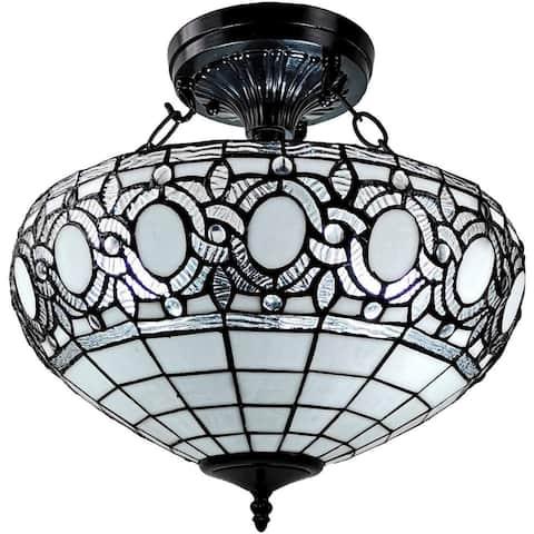 Tiffany Style Semi-flush Mount Ceiling Fixture AM230HL16 Amora Lighting