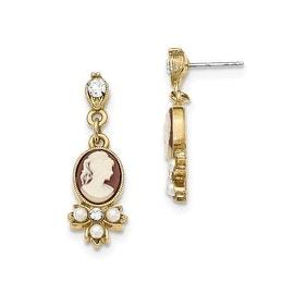 Goldtone Downton Abbey Acrylic Cameo Crystal Post Earrings