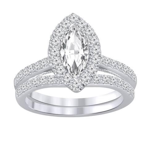 Auriya 1 1/2ctw Marquise Halo Diamond Engagement Ring Set 14k Gold