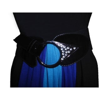 Funfash Plus Size Belt Black Leatherette Rhinestones Stretchy Elastic One Size