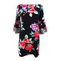 Jessica Howard Women's Petite Floral Stripe Bell-Sleeve Dress - Black Multi
