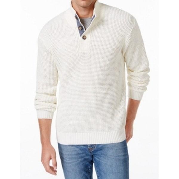 b1d3aee0c Shop Weatherproof NEW White Ivory Mens Small S Waffle-Knit ...