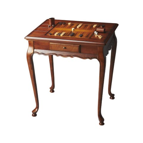 Offex Traditional Rectangular Wooden Game Table in Olive Ash Burl Finish - Medium Brown