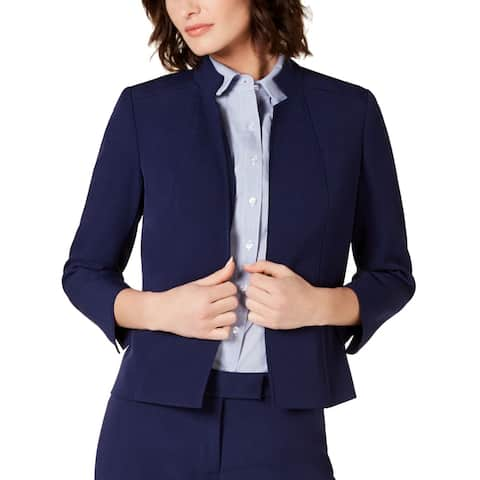 Anne Klein Womens Jacket Navy Blue Size 8 Open-Front Crepe Stand Collar