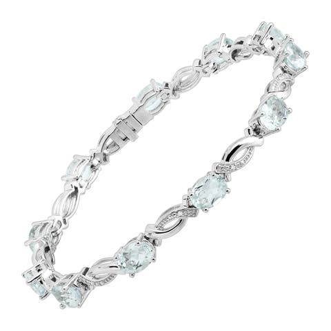 Natural Aquamarine & Created White Sapphire Tennis Bracelet in Sterling Silver - Blue