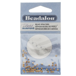 Beadalon Bead Bumpers, Oval Silicone Spacers 2mm, 50 Pieces, Gold