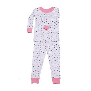 New Jammies Unisex Baby Pink Anchors Aweigh Cotton 2 Pc Sleepwear Set 12-24M