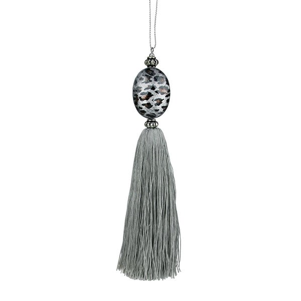 "7"" Diva Safari Silver Animal Print Prism with Tassel Christmas Ornaments"
