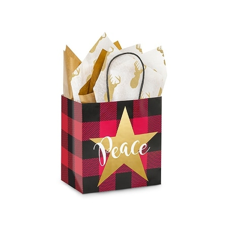"Pack Of 25, Junior 8 X 5 X 8"" Buffalo Plaid Christmas Paper Shopping Bags Made From Recycled White Gloss Paper Made In Usa"
