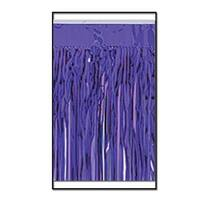 Pack of 6 Purple Metallic 2-Ply Hanging Fringe Drape Streamer Party Decorations 10'