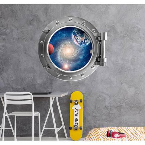 Space Wall Decal Nursery Spaceship Porhole 3D Sticker