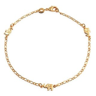 Bling Jewelry 18K Gold Plated Brass Lucky Elephant Patriotic Ankle Bracelet 9.5in