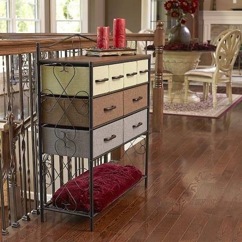 Household Essentials Victorian 8-Drawer Chest Storage Dresser or Entryway Table Black