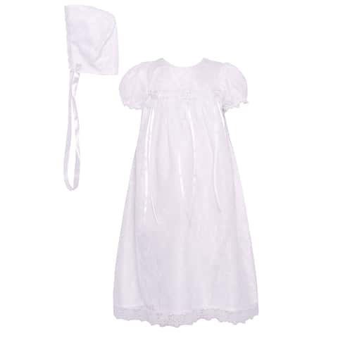 c995282f4 The Children's Hour Baby Girls White Floral Ribbon Baptism Bonnet Dress