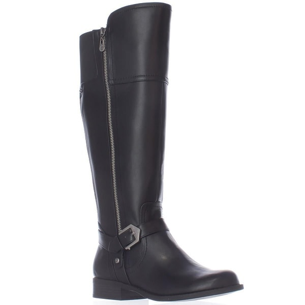G GUESS Hailee Wide Calf Riding Boots, Black