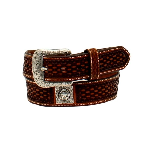 Ariat Western Belt Mens Weave Conchos Contrast Stitching Tan