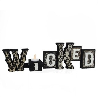 "16"" Black and White Glittered ""Wicked"" Decorative Halloween Candle Holder"