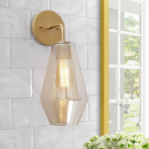 "Modern 1-Light Smoked Glass Bathroom Vanity Light Golden Wall Sconce Lighting - L9""x W7""x H16"". Opens flyout."