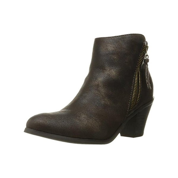 N.Y.L.A. Womens Ayita Ankle Boots Faux Leather Stacked Heel