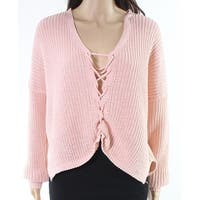 Woven Heart Women's Medium Lace Up Knitted Sweater