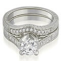 1.00 cttw. 14K White Gold Antique Cathedral Round Cut Diamond Engagement Set - Thumbnail 0