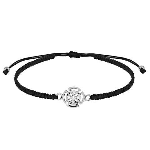 Handmade Quaternary Celtic Sterling Silver Charm on Black Rope Adjustable Bracelet (Thailand)
