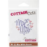 """Cottagecutz Dies-Mr & Mrs With Hearts 3.2""""X2.8"""""""