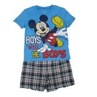 Disney Little Boys Sky Blue Mickey Print Short Sleeve 2 Pc Shorts Outfit