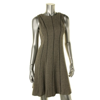 Lauren Ralph Lauren Womens Petites Wool Faux Leather Trim Wear to Work Dress