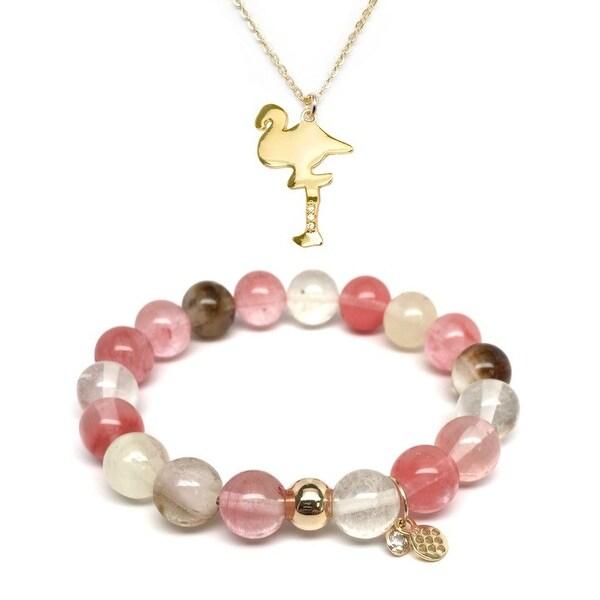 Pink Cherry Quartz Bracelet & CZ Flamingo Gold Charm Necklace Set