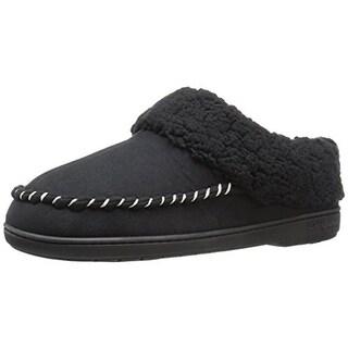Dearfoams Womens Microsuede Faux Fur Clog Slippers
