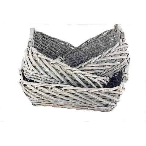 MODA MDW-1242-2027S Handmade Wicker Storage Baskets - L:16.54*13.99*H5.9
