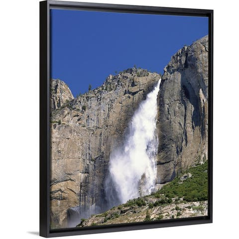 """""""California, Yosemite National Park, Low angle view of a waterfall falling fro"""" Black Float Frame Canvas Art"""