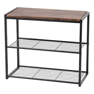 3-Tier Shoe Storage Organizer with Wood and Steel Shelf in Black