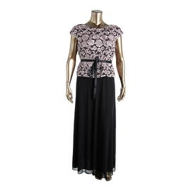 Alex Evenings Womens Floral Lace Cap Sleeve Evening Dress