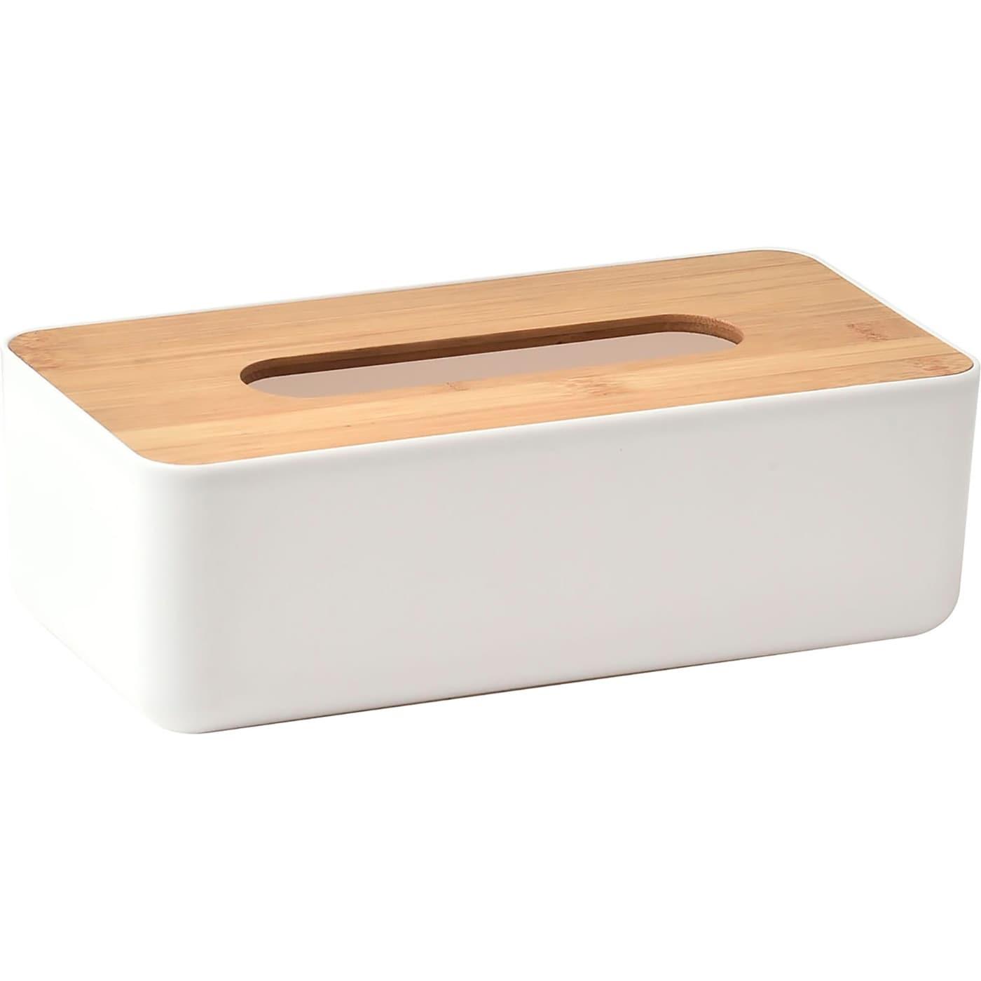Padang Rectangular Facial Tissue Holder Box Cover White Bamboo White Overstock 31918867