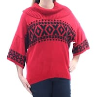 STYLE & COMPANY Womens Red Tribal Kimono Sleeve Cowl Neck Sweater  Size: L
