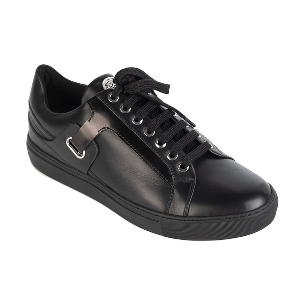 Shop Versace Collection Mens Black Leather Lace Up Low Top ...