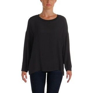 Vince Womens Pullover Top Silk Ribbed Trim
