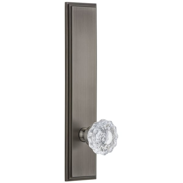 """Grandeur CARVER_TP_PSG_234 Carre Solid Brass Rose Tall Plate Passage Door Knob Set with Versailles Crystal Knob and 2-3/4"""""""