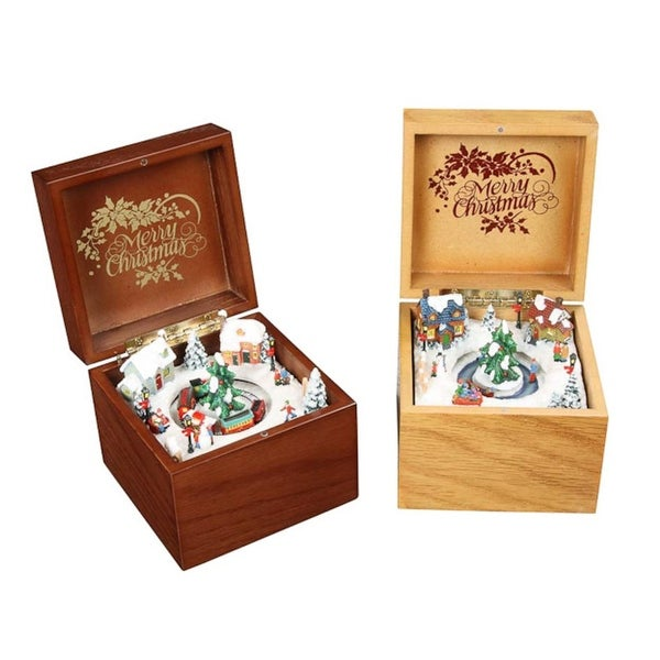 Pack of 4 Icy Crystal Decorative Animated Wooden Music Boxes 3.5""