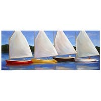 ''Colored Catboats'' by Carol Saxe Coastal Art Print (8.5 x 20.5 in.)