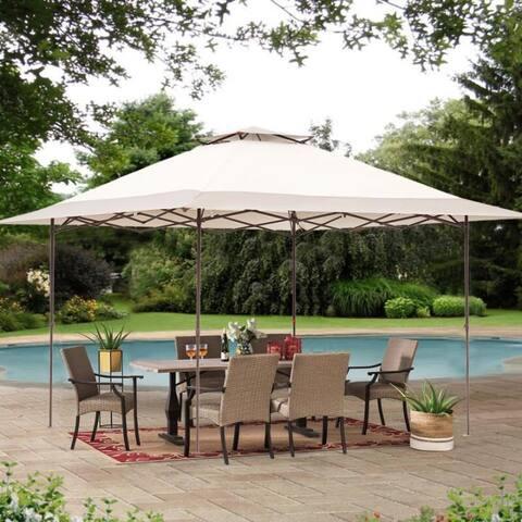 Zenova 13x13FT Outdoor Pop-Up Gazebo Canopy 2-Tier Shade Outdoor Patio Garden Tent Patio Gazebo Shelter - 13*13
